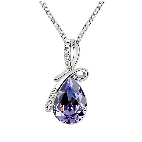 Acefeel Crystal Eternal Love Teardrop Pendant Necklace Fashion Jewelry for Women N087 (Purple small size)