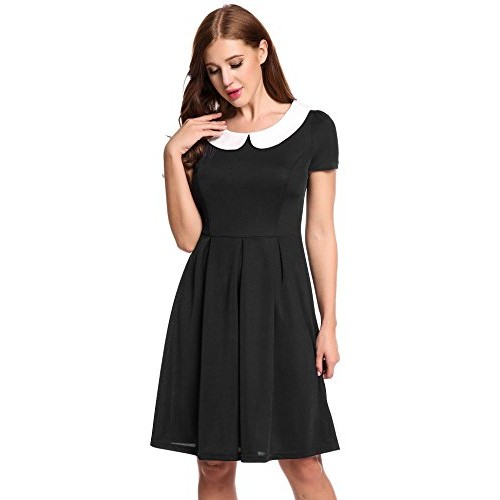 ACEVOG Lady Casual Doll Collar Peter Pan Collar Work Office Dress for Women