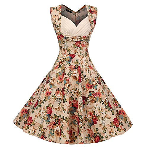 ACEVOG Vintage 50s Floral Retro Pin Dresses Audrey Hepburn Tea Party Cocktail Swing Dress