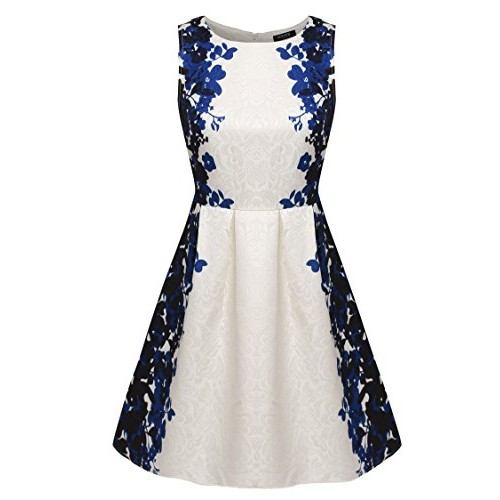 ACEVOG Women Summer Casual Sleeveless Floral Mini Party Cocktail Dress (L, Dark Blue)