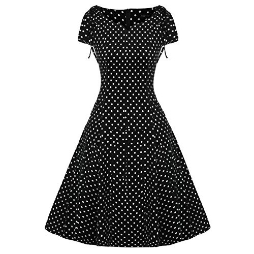 ACEVOG Women's 1950s V Neck Vintage Cut Out Retro Party Cocktail Dresses