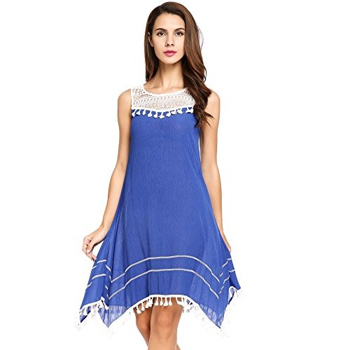 ACEVOG Women's Casual Loose Boho Lace Tassel Dress Irregular Hem Party Dresses