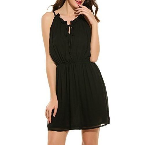 ACEVOG Women's Chiffon Halter Sleeveless Lace up Solid Mini Dress (Black S)