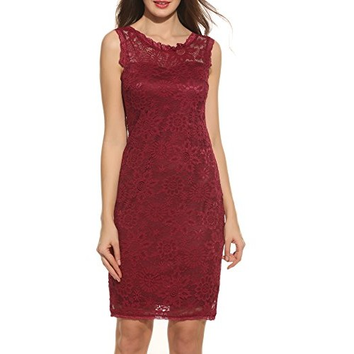 Acevog Women's Elegant Floral Sleeveless Lace Party Cocktail Evening Dress (Medium, Wine Red)