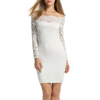 ACEVOG Women's Off Shoulder Lace Dress Long Sleeve Bodycon Casual Dresses (Large, White)