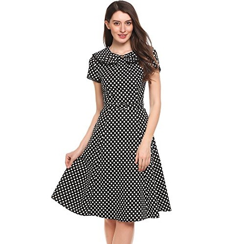 ACEVOG Women's Party Cocktail Dot Retro Vintage Swing Tea Dress with Belt
