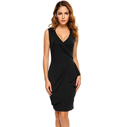 ACEVOG Women's Sexy Sleeveless Deep V-Neck Asymmetrical Wrap Sheath Dress