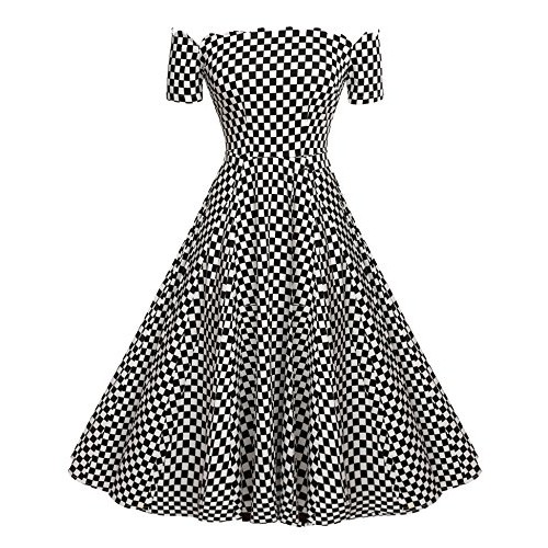 ACEVOG Women's Short Sleeve Polka Dots 1950s Vintage Swing Tea Dresses Black White S