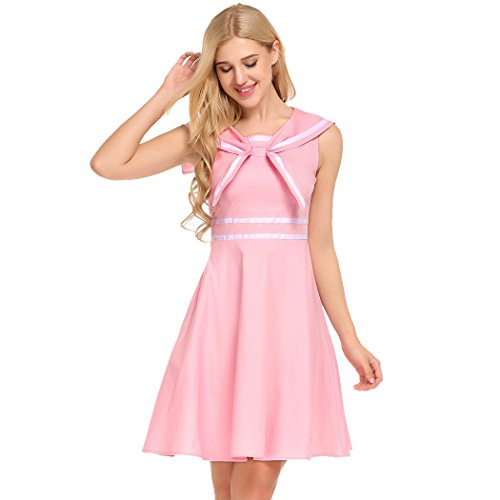 ACEVOG Women's Vintage Contrast Collar Sleeveless Sailor Moon Swing Dress