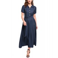 ACEVOG Women's Vintage Style Turn Down Collar Puff Sleeve Maxi Swing Dress