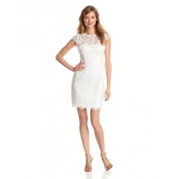Adrianna Papell Women's Cap Sleeve Illusion Lace Dress, White, 2