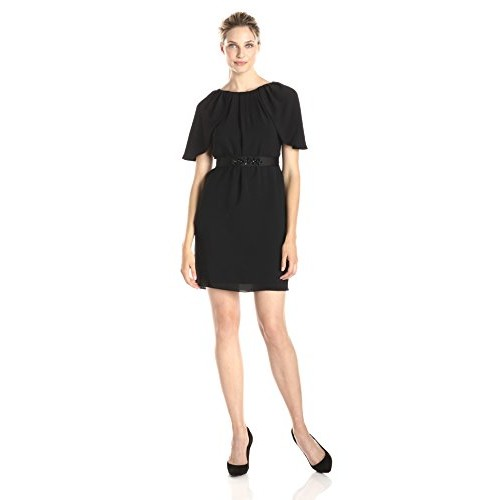 Adrianna Papell Women's Draped Sleeve Blouson Belted Dress, Black, 2
