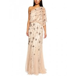 Adrianna Papell Women's One Shoulder Beaded Blousant Dress, Nude, 4