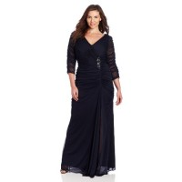 Adrianna Papell Women's Plus-Size 3/4 Sleeve Rouched Gown, Ink, 14W