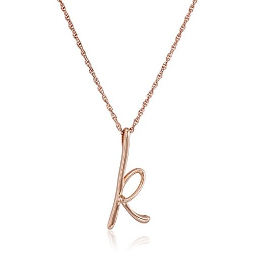 "14k Rose Gold Plated Sterling Silver ""K"" Cursive Initial Pendant Necklace, 18"""