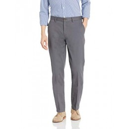 Amazon Essentials Men's Straight-Fit Wrinkle-Resistant Flat-Front Chino Pant, Grey, 34W x 32L