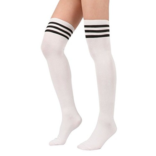 American Trends Women's Triple Stripe Over the Knee High Socks White