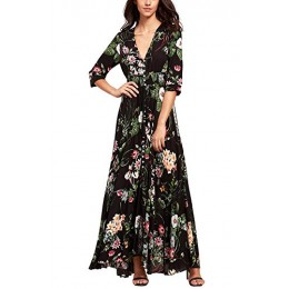 Amstt Women's Button Up Split Floral Print Flowy Boho Party Maxi Dress