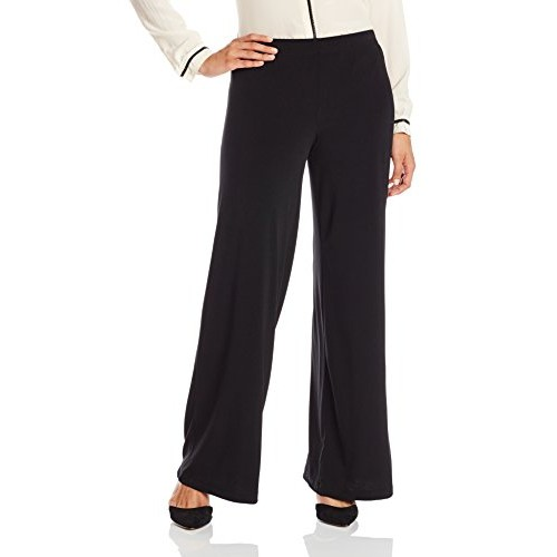 Amy Byer AGB Women's Petite Soft Knit Pant with Wide Leg Palazzo, Black, Petite/Small
