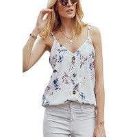 Ancapelion Women's V-Neck Buttoned Sling Sleeveless Floral Print Shirt Blouse Casual Tank Tops White Large