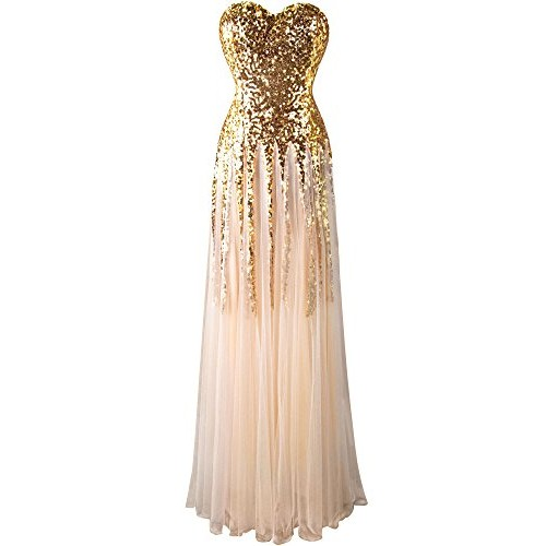 Angel-fashions Women's New Gold Sequin Sweetheart Mesh Lace up Floor Length Dress Large