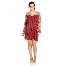 Angie Junior's Plus-Size Printed Bell Sleeve Dress, Red, 1X