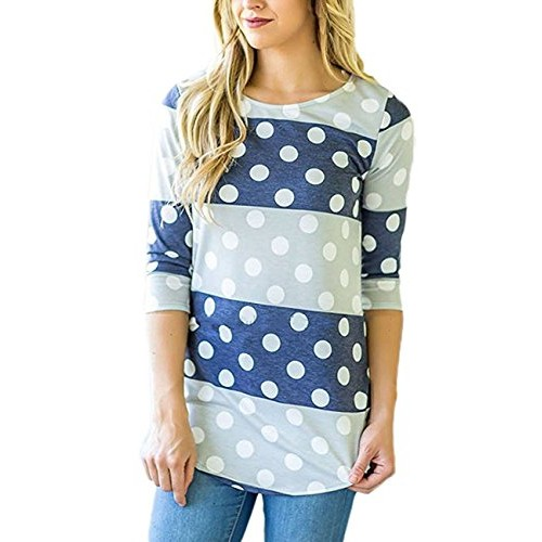 Assivia Women Floral Print 3 4 Sleeve T-Shirts Casual Striped Blouse Tops (L, Blue)
