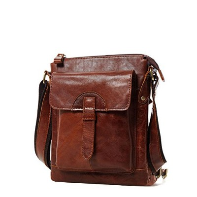 Mens Retro Brown Cowihde Leather Casual Satchel Crossbody Shoulder Bag