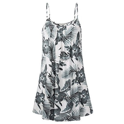 BAISHENGGT Women's Flowy Dresses,EU Style Summer Beach Floral Printed Casual Spaghetti Strap Front Pleated Mini Dress Grey Floral L