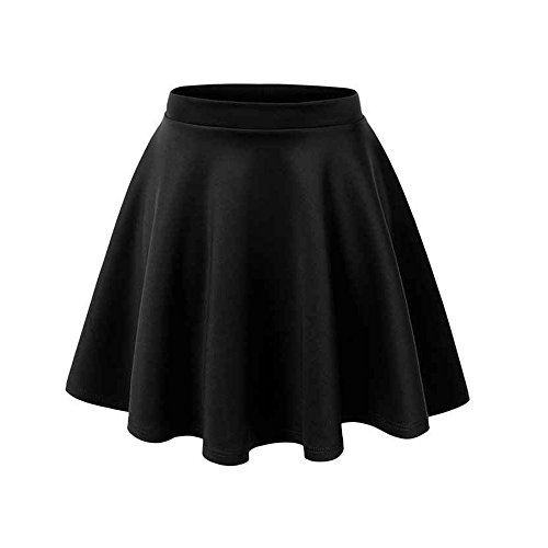 Black Basic Casual High Waist Solid Color A-Line Skirt(S)
