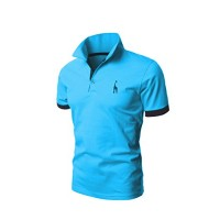 Bestgift Men's Casual Slim Short Sleeve Polo T-shirt Blue L
