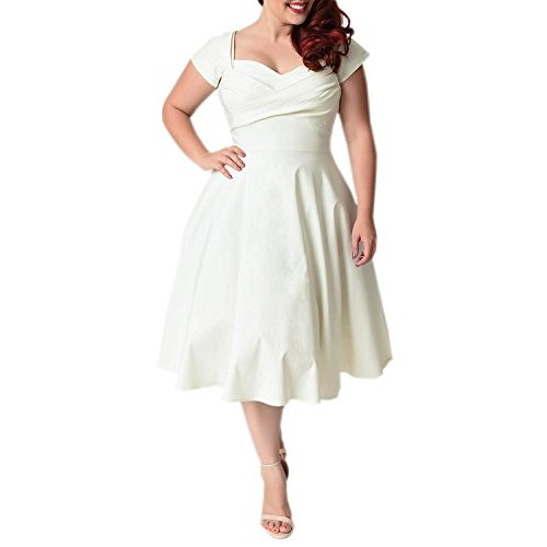 BIUBIU Women's Plus Size Elegant Ruched V Neck Bodycon Swing Midi Dress White 5XL