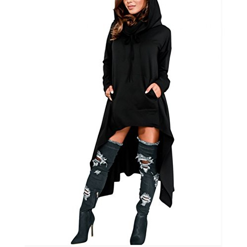BIUBIU Women's Plus Size Hooded Cloak Cape Asymmetrical Hoodie Sweatshirt Dress Black 2XL