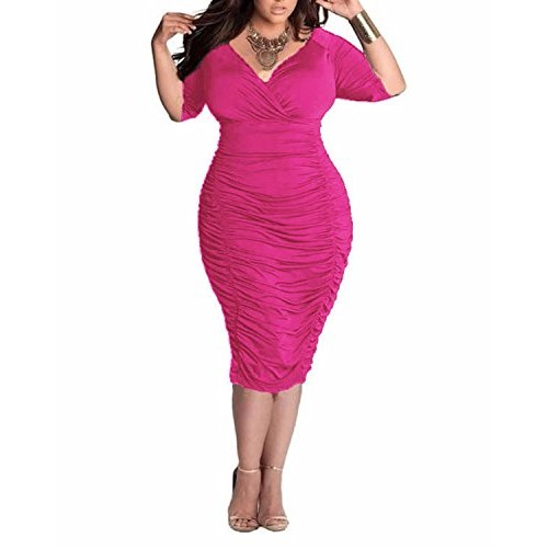 BIUBIU Women's Plus Size Sexy 3/4 Sleeve V Neck Ruched Bodycon Midi Dress Rose 3XL