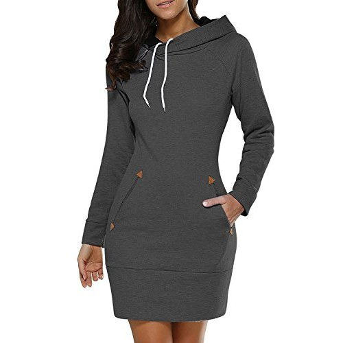 BUIBIU Women's Long Sleeve Cotton Slim Fit Midi Hoodie Dress with Pocket Dark Gray 3XL