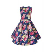 Black Butterfly Kids 'Audrey' Vintage Divinity 50's Dress (Midnight Blue, 9-10 YRS)