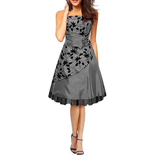 Black Butterfly 'Sia' Satin Essence Prom Dress (Silver, US 14)