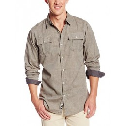 Burnside Men's Locked Long-Sleeve Woven Shirt, Khaki, XX-Large