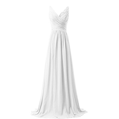 CaliaDress Women V Neck Long Bridesmaid Dress Prom Evening Gowns C015LF White US10