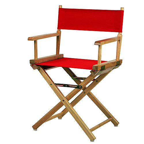 Casual Home 18-Inch Director Chair Natural Frame, Red Canvas