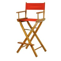 Casual Home 30-Inch Director Chair Honey Oak Frame, Red Canvas