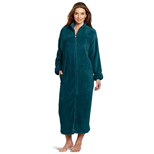 Casual Moments Women's 52 Inch Breakaway Zip Robe, Teal Green, Medium