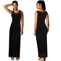 Changeshopping Sexy Fashion Womens Boho Long Maxi Cocktail Dress Beach Dresses (S, Black)