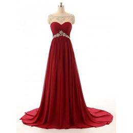 Changjie Women's Beaded Long Formal Evening Dresses For Women Size 2 Burgundy