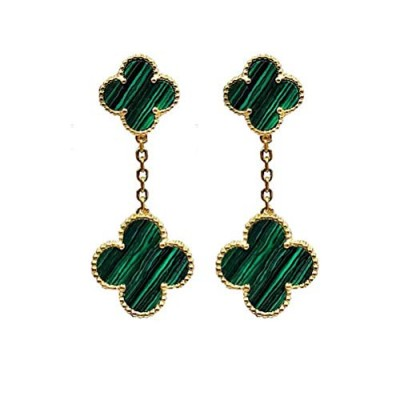 Women S925 Sterling Silver Plated 18k Gold Malachite Four-leaf Clover Double Fower Earrings, Leaf Van Cleef Onyx Clover Stud Earrings