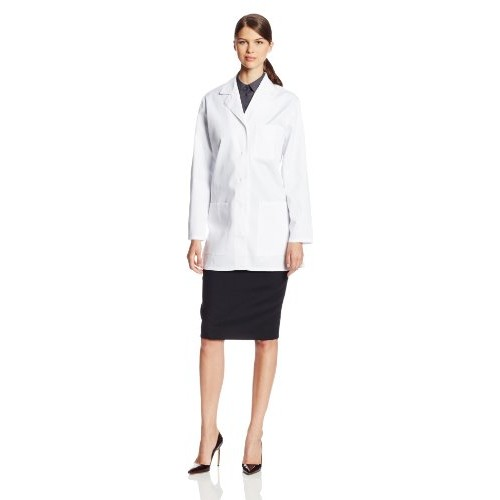 Cherokee Women's Scrubs 32-Inch Button Back Belt Lab Coat, White, Small