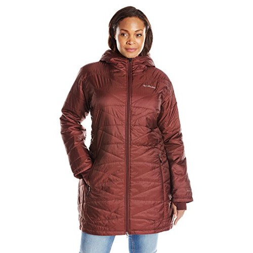 Columbia Women's Plus Size Mighty Lite Hooded Jacket, Deep Rust, 1X