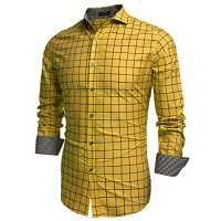 Coofandy Men's Fashion Long Sleeve Plaid Button Down Casual Shirts (XXX-Large, Gold)