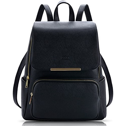 Coofit Black Leather Backpack Schoolbag Casual Daypack Laptop Backpack for Women