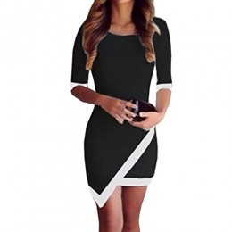 Coromose Sexy Women Summer Bandage Bodycon Evening Party Irregular Mini Dress (S, Black)